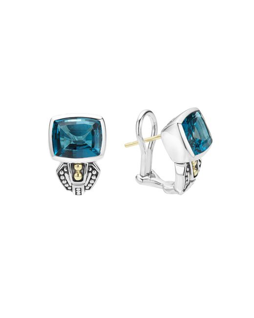 Lagos   18k Gold And Sterling Silver Caviar Color Huggie Earrings With London Blue Topaz   Lyst