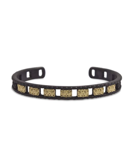 Armenta | Metallic 18k Yellow Gold And Blackened Sterling Silver Old World Open Carved Cuff Bracelet | Lyst