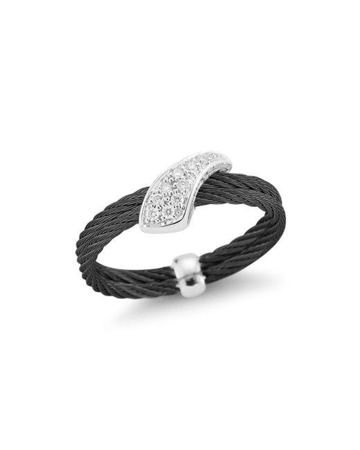 Alor - Metallic Noir Woven Diamond Ring - Lyst