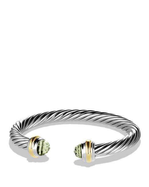 David Yurman - Metallic Cable Classics Bracelet With Prasiolite And Gold - Lyst