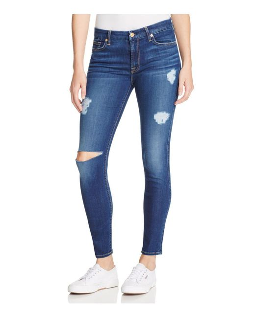 7 For All Mankind - Blue B(air) Destroyed Skinny Ankle Jeans In Duchess - Lyst