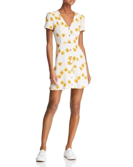 Re:named - White Kate Floral Mini Dress - Lyst