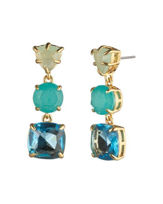 Carolee - Multicolor Three-stone Linear Drop Earrings - Lyst