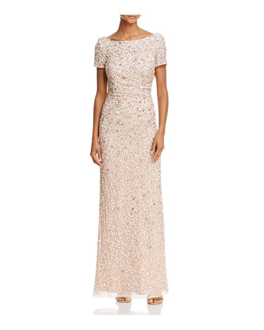 Adrianna Papell | Multicolor Beaded Cowl-back Gown | Lyst