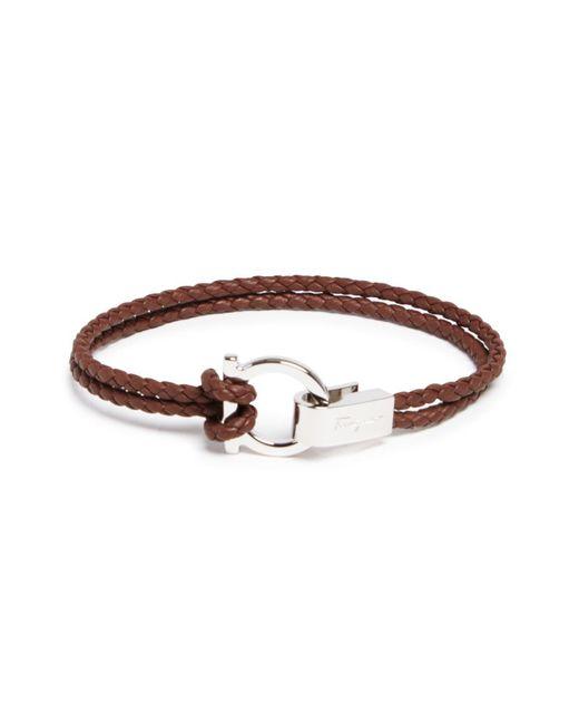 Ferragamo - Brown Braided Double Wrap Bracelet With Gancio Closure for Men - Lyst