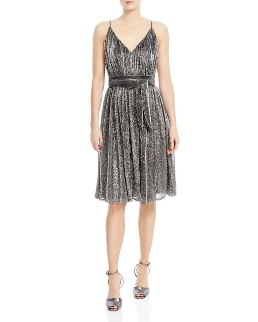 Halston Heritage - Multicolor Metallic Jersey Belted Dress - Lyst