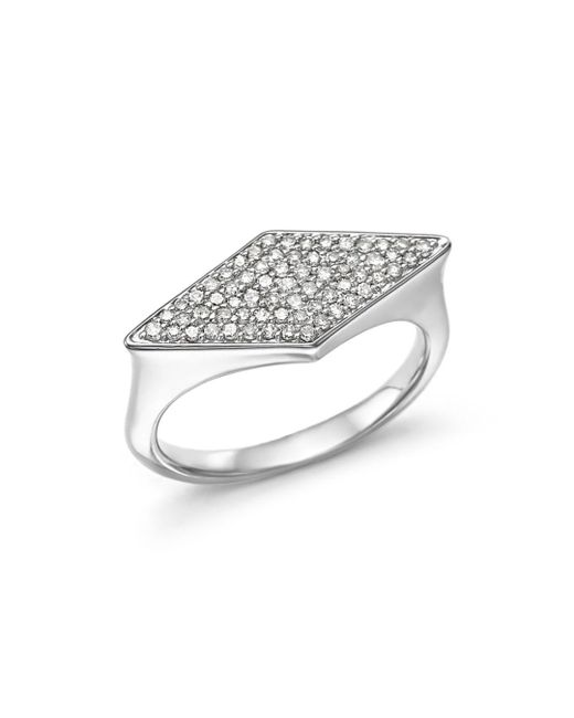 Adina Reyter - Metallic Sterling Silver Pavé Diamond Stretched Diamond Signet Ring - Lyst