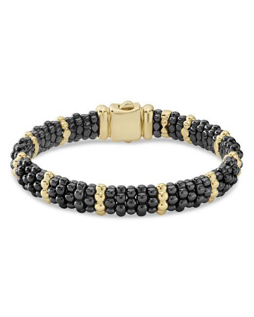 Lagos - Metallic Gold & Black Caviar Station Bracelet - Lyst