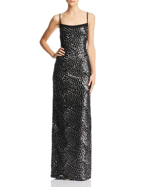 Aidan By Aidan Mattox - Black Embroidered Sequin Gown - Lyst