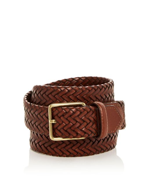 Cole Haan - Brown Woven Stretch Leather Belt for Men - Lyst