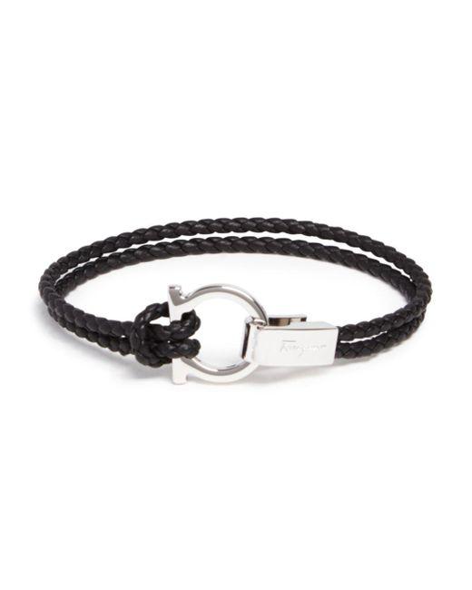 Ferragamo - Black Braided Double Wrap Bracelet With Gancio Closure for Men - Lyst