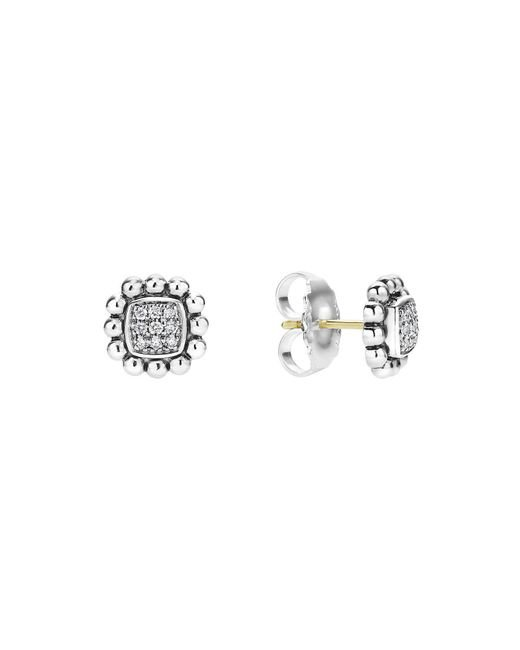 Lagos | Metallic Sterling Silver Caviar Spark Diamond Square Stud Earrings | Lyst