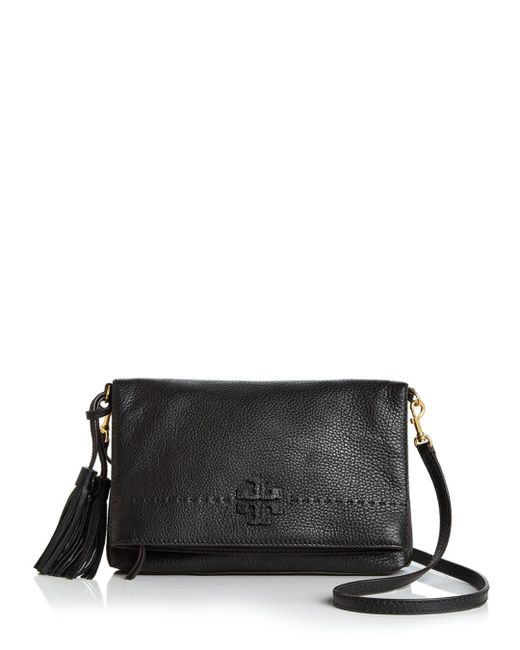 Tory Burch - Black Mcgraw Fold-over Leather Crossbody - Lyst