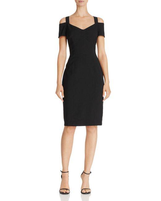 Adrianna Papell - Black Cold-shoulder Sheath Dress - Lyst