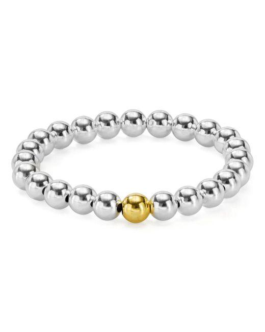Aqua - Metallic Sterling Silver Beaded Stretch Bracelet - Lyst