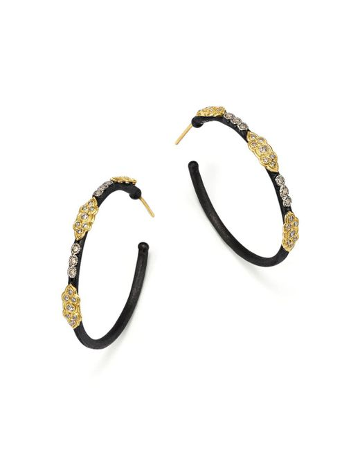 Armenta - Metallic 18k Yellow Gold And Blackened Sterling Silver Old World Large Diamond Hoop Earrings - Lyst