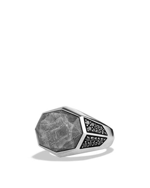 David Yurman | Metallic Meteorite Signet Ring With Black Diamonds for Men | Lyst