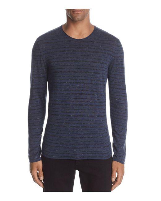 John Varvatos | Blue John Varvatos Striped Long Sleeve Crewneck Sweater for Men | Lyst