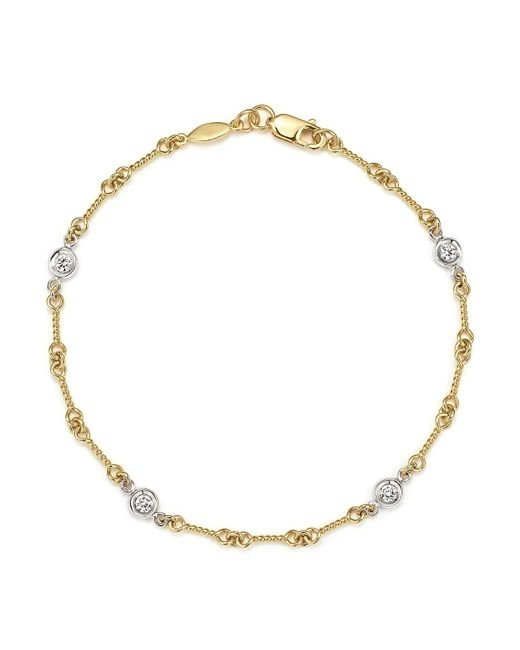 Roberto Coin | Metallic 18k Yellow Gold And Diamond Station Bracelet | Lyst