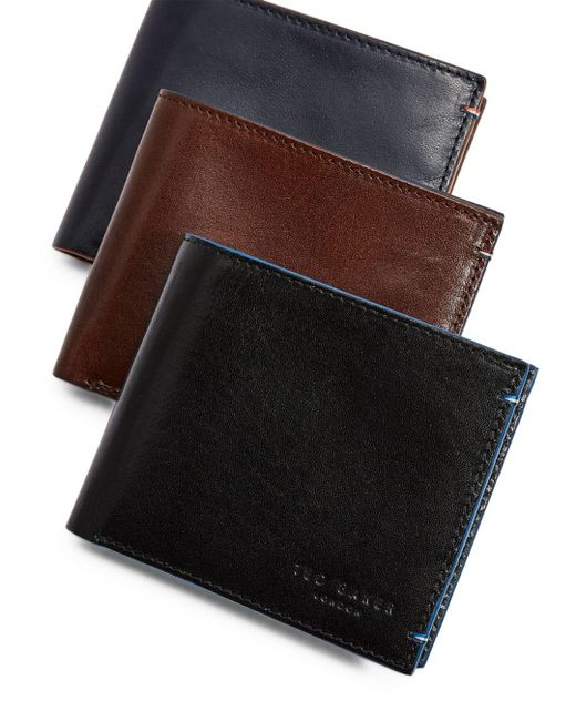 2dc46f63fa757 Ted Baker - Black Cechic Contrast-stitch Leather Bifold Wallet for Men -  Lyst ...