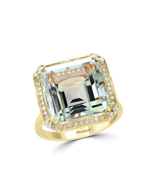 Bloomingdale's - Metallic Green Amethyst & Diamond Statement Ring In 14k Yellow Gold - Lyst