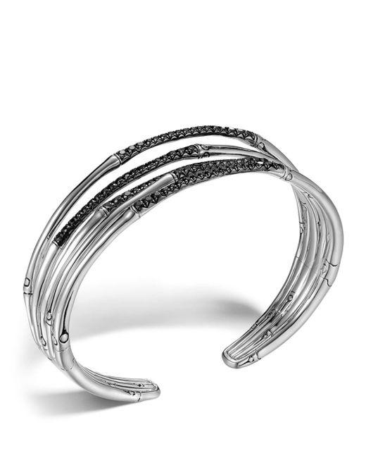 John Hardy - Metallic Bamboo Silver Lava Narrow Flex Cuff With Black Sapphires - Lyst