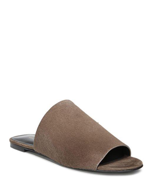 Via Spiga - Brown Women's Heather Calf Hair Slide Sandals - Lyst