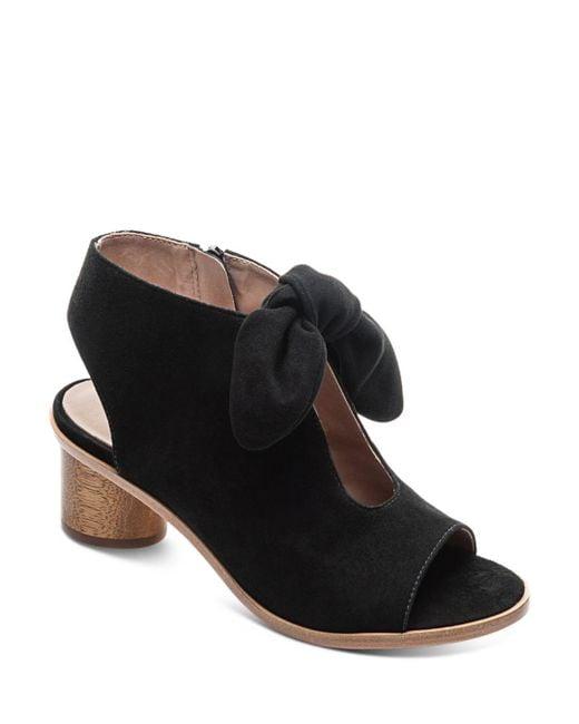 Bernardo - Black Women's Knotted Suede Peep Toe Sandals - Lyst
