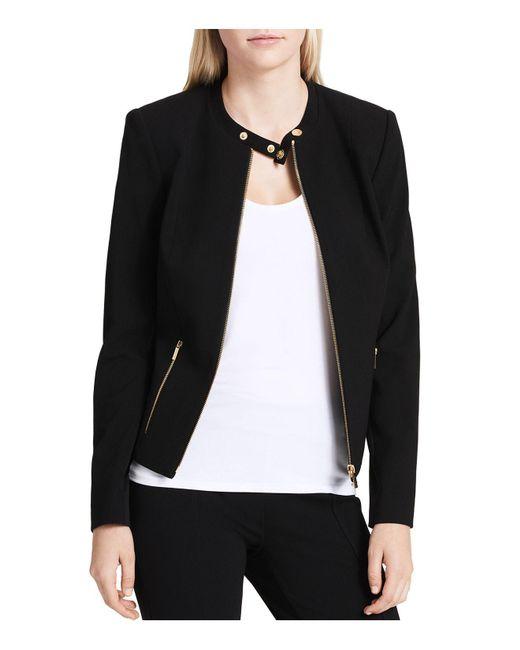 Calvin Klein   Black Crepe Moto Jacket   Lyst