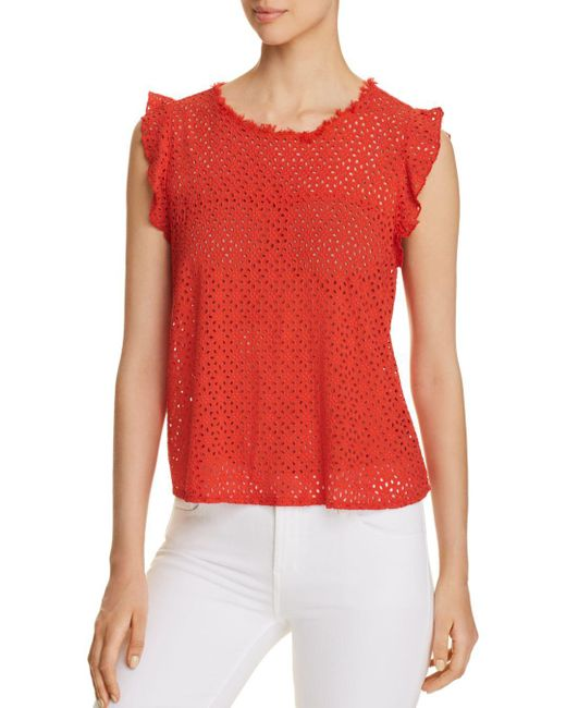 Three Dots - Red Eyelet Flutter Top - Lyst