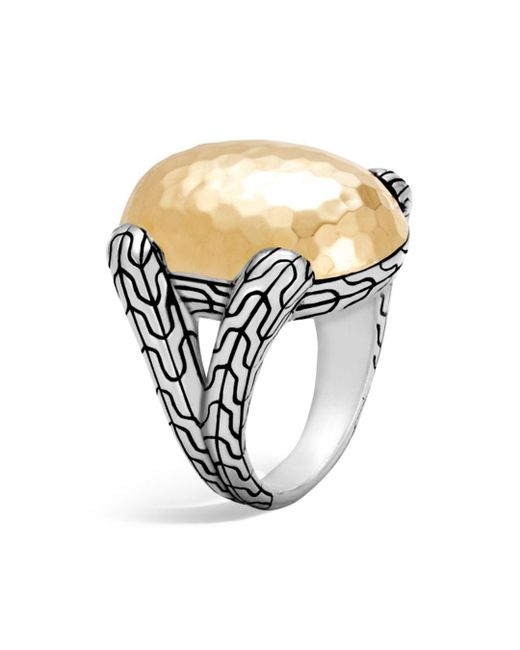 John Hardy - Metallic Sterling Silver And 18k Bonded Gold Classic Chain Hammered Large Oval Ring - Lyst