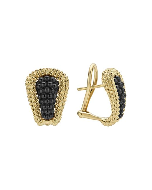 Lagos - Metallic Gold & Black Caviar Collection 18k Gold & Ceramic Huggie Earrings - Lyst