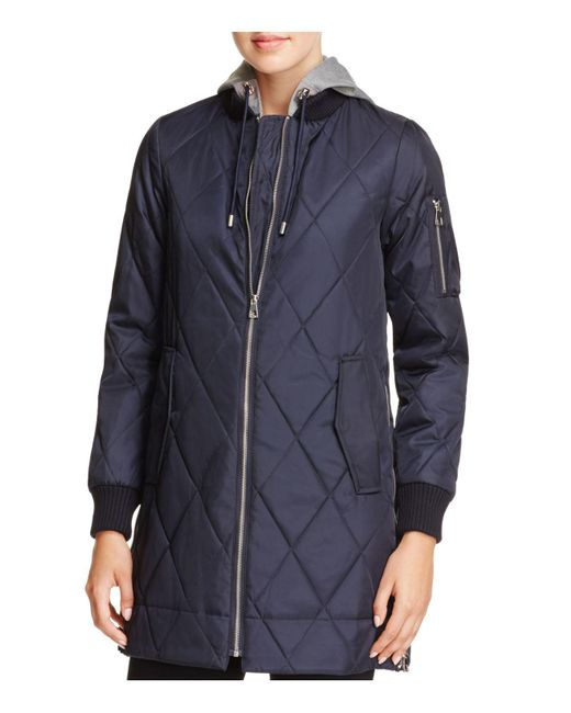 Vince Camuto | Blue Long Quilted Bomber Jacket | Lyst