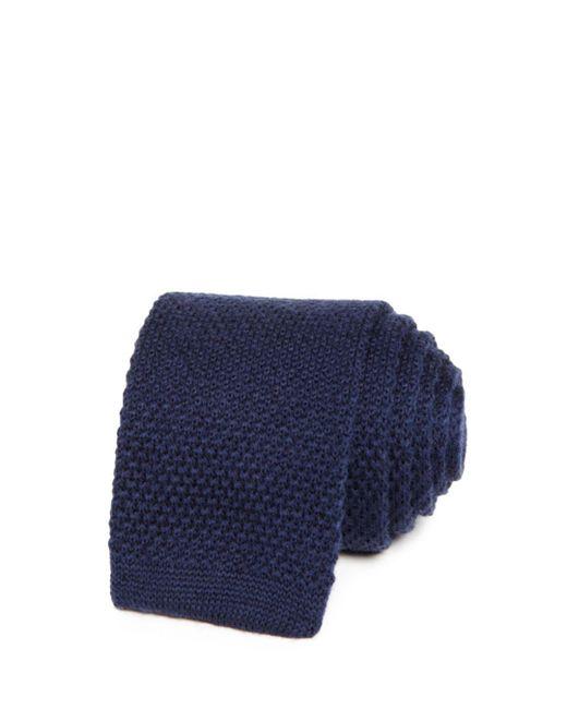 Bloomingdale's - Blue Solid Knit Skinny Tie for Men - Lyst