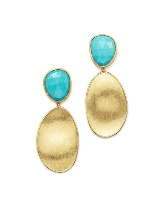 Marco Bicego - Blue 18k Yellow Gold Turquoise Two Drop Earrings - Lyst