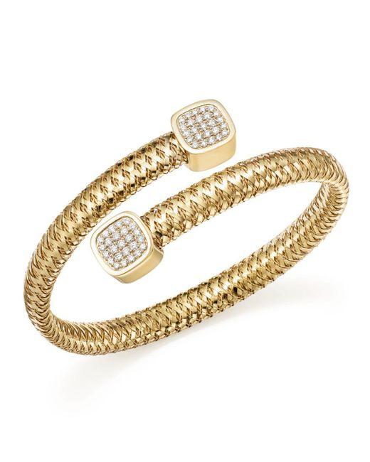 Roberto Coin - Metallic 18k Yellow Gold Primavera Diamond Capped Bangle - Lyst