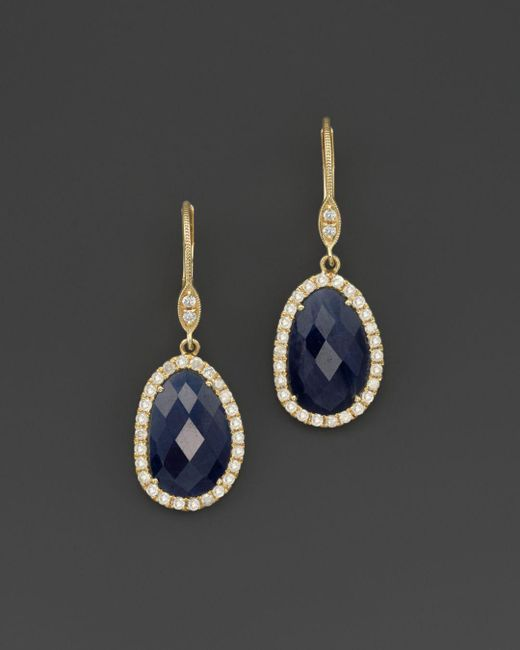 Meira T - Metallic 14k Yellow Gold Sapphire And Diamond Earrings - Lyst
