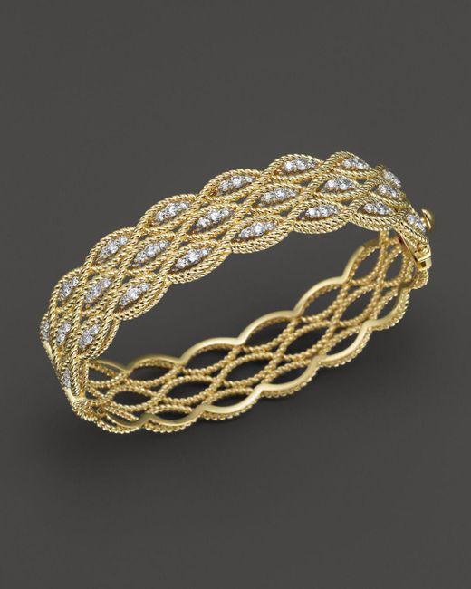 Roberto Coin - Metallic 18k Yellow And White Gold New Barocco Diamond Bangle - Lyst