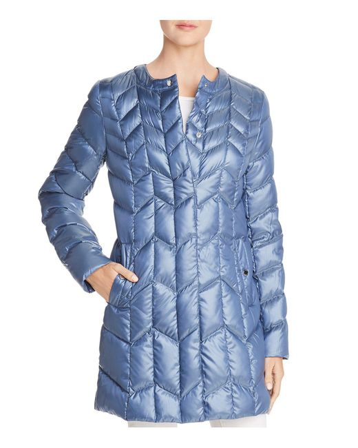 Via Spiga - Blue Packable Chevron-quilted Down Coat - Lyst