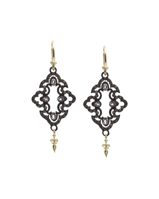 Armenta   Metallic 18k Yellow Gold And Blackened Sterling Silver Old World Champagne Diamond And White Sapphire Scroll Drop Earrings   Lyst