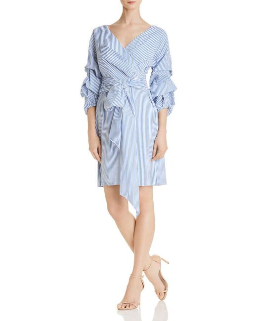 Adrianna Papell - Blue Striped Faux-wrap Dress - Lyst