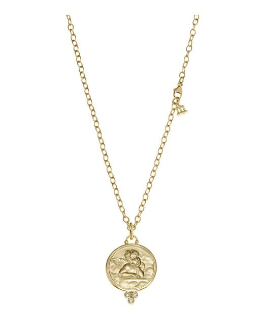 Temple St. Clair | Metallic 18k Yellow Gold Angel Pendant With Diamonds | Lyst
