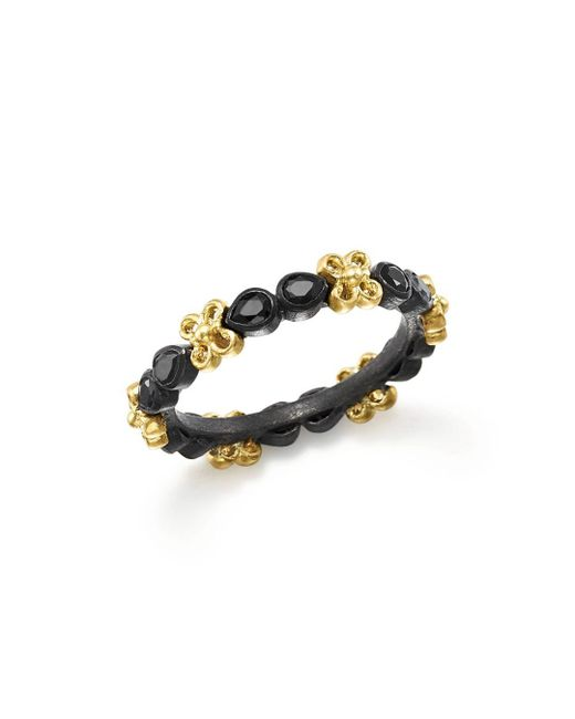 Armenta - Metallic 18k Yellow Gold And Blackened Sterling Silver Old World Black Sapphire Stacking Ring - Lyst