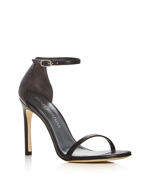 Stuart Weitzman - Black Nudist Textured Leather D'Orsay Sandals - Lyst