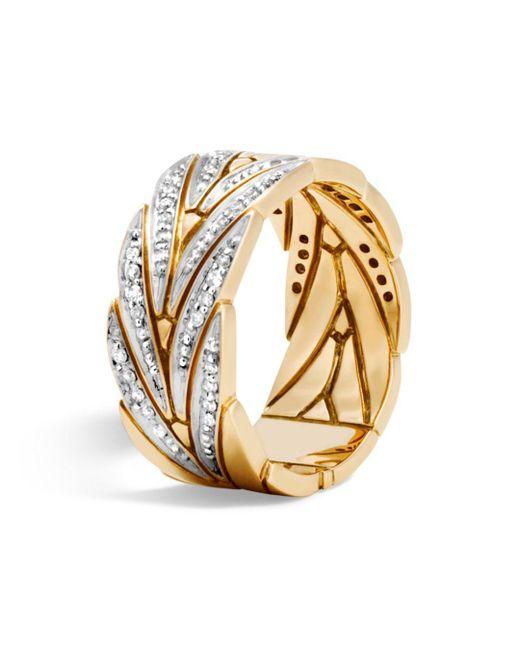 John Hardy - Metallic Modern Chain Band Ring With Diamonds - Lyst