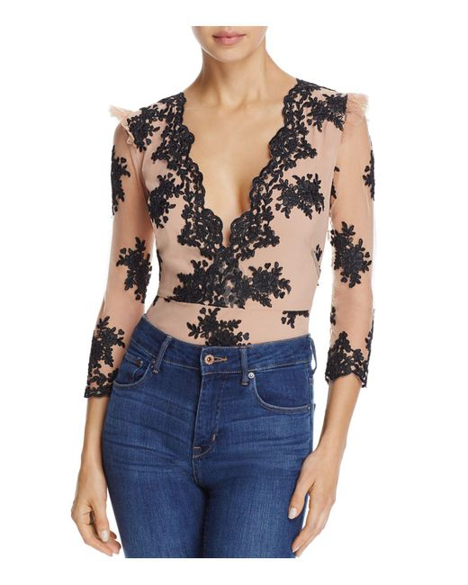 For Love & Lemons | Multicolor Amber Scalloped Lace Bodysuit | Lyst