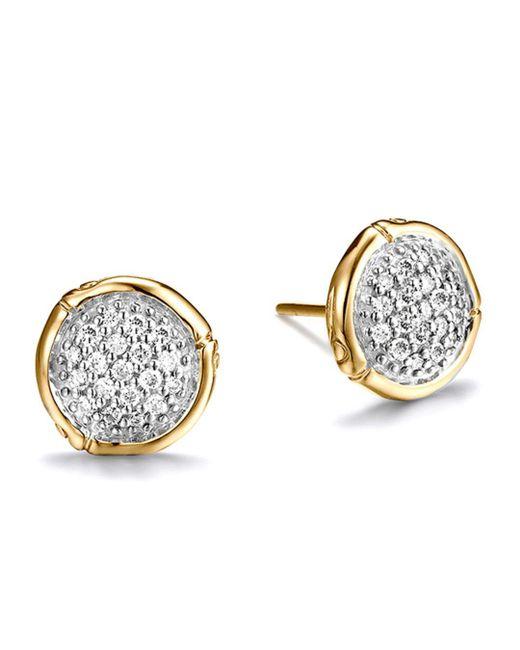 John Hardy - Metallic Bamboo 18k Yellow Gold Diamond Pavé Small Round Stud Earrings - Lyst