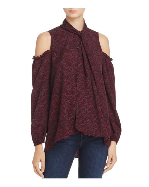 French Connection   Purple Callie Crepe Cold-shoulder Top   Lyst