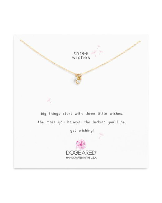 "Dogeared - Metallic Dogeaded Three Wishes Cluster Necklace, 16"" - Lyst"