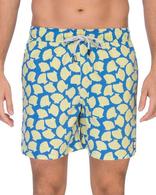 Tom & Teddy - Yellow Shell Print Swim Trunks for Men - Lyst
